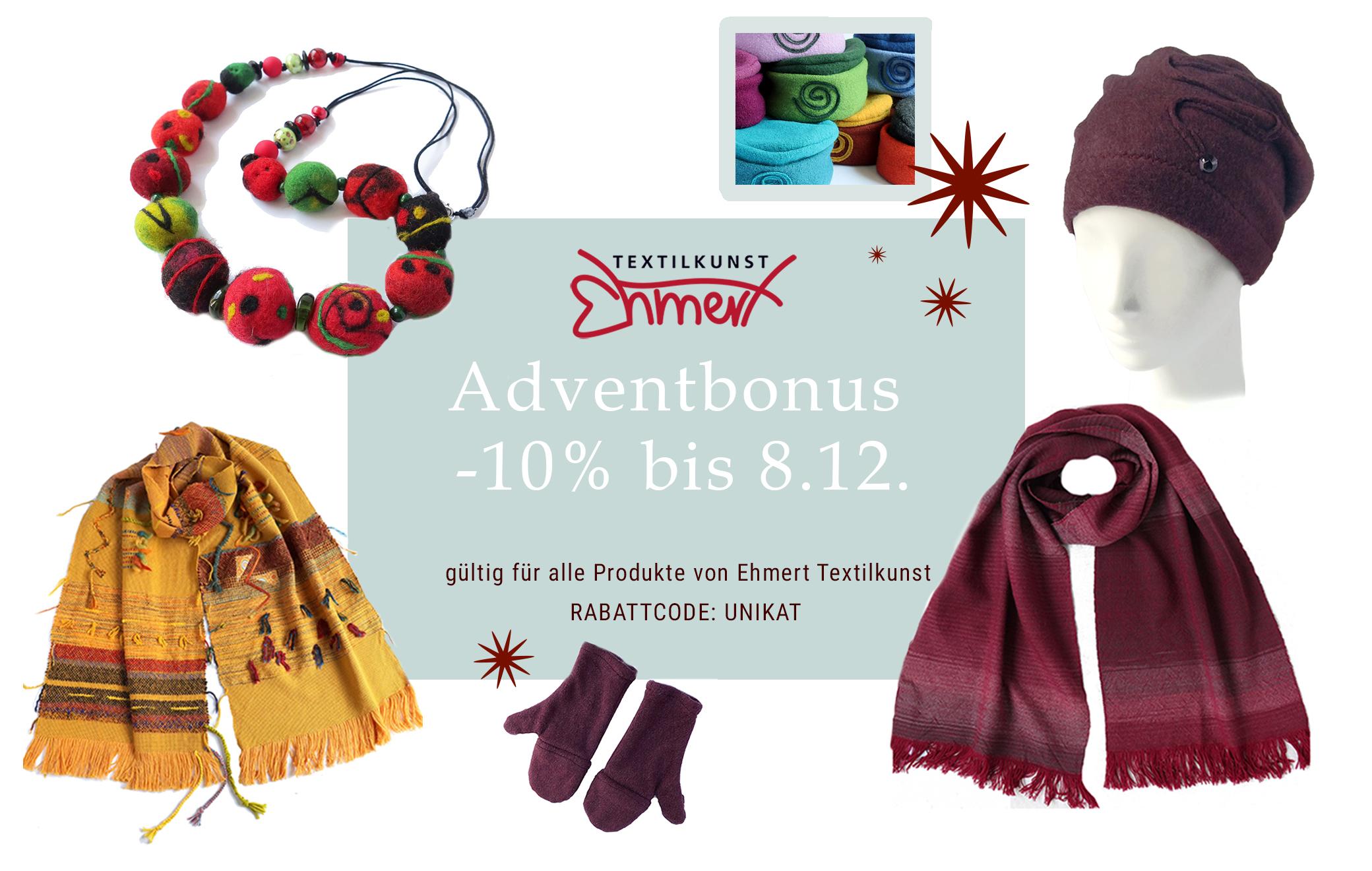 Ehmert Textilkunst: 10 % Adventbonus bis 8.12.2020