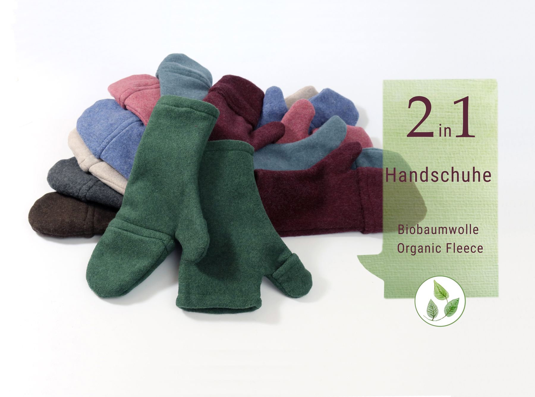 2 in 1 Handschuhe mit Kappen aus Biobaumwolle in M und L aus eigener Werkstatt